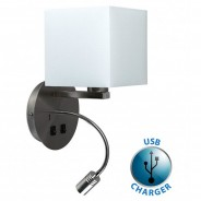 Solara Hotel Wall Light with USB Charger (20395) 2