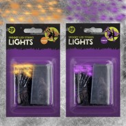 Spooky 20 LED Battery Operated String Lights - Orange/Purple 1