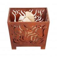 Square Rust Fire Basket 2