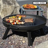 St Louis Fire Pit & BBQ Grill With Rain Cover by Fire & Dine  2 Free BBQ Grill & Poker