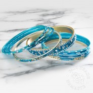 Turquoise Indian Glitter Bangles (BG19) 2