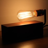 Vintage Wooden Block Table Light 3 Wooden Block with Teardrop Squirrel Cage Bulb (sold separately)