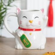 Waving Lucky Cat Mug 1