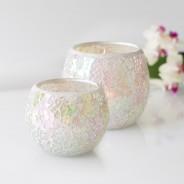 Iridescent Candle Holders White Mosaic 1