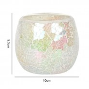 Iridescent Candle Holders White Mosaic 4 9cm