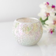 Iridescent Candle Holders White Mosaic 2