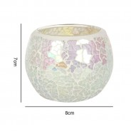 Iridescent Candle Holders White Mosaic 5 7cm