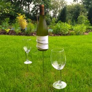 Wine Bottle and Glasses Ground Stakes 1