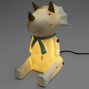 Wood Effect Sitting Triceratops Lamp 3