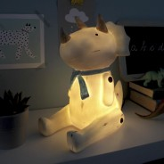 Wood Effect Sitting Triceratops Lamp 1