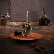 "Zombie Brass Hand Candle ""The Bird"" 2"