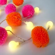 20 Neon Pom Pom Fairy Lights