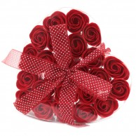 24 Red Rose Soap Flowers in Heart Box