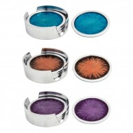 4 x Brushed Aluminium Coasters in Holder (AL483)