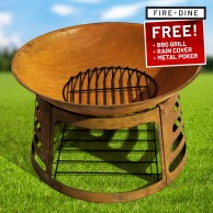Apollo Oxidised Fire Pit & BBQ Grill With Rain Cover by Fire & Dine