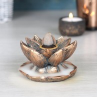 Bronze Lotus Flower Backflow Incense Burner