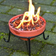 Terracotta Fire Pot and Stand - Mini Fire Pit