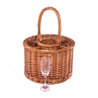 Garden Party Wine and Six Glasses Basket