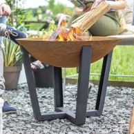 Icarus Oxidised Cast Iron Fire Pit with Steel Legs