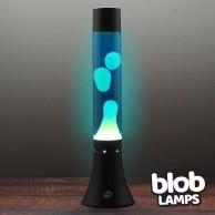 "MODERN Blob Lamp  - Black Lava Lamp 14.5"" - White/Blue"