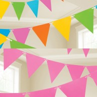 Neon Paper Bunting 4.5m