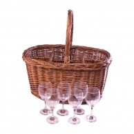 Oval Festival Drinks Basket for 6