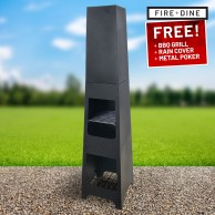 Phoenix Steel Chimenea Fire Pit & BBQ Grill With Rain Cover by Fire & Dine