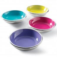 Recycled Aluminium Bright Enamel Bowls x 4