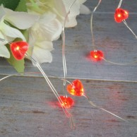 Copper Wire String Lights Red Hearts