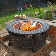 3 in 1 Round Firepit and Grill with Copper Bowl