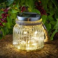 Solar Firefly Glass Lantern with Jute Handle