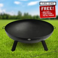 St Louis Fire Pit & BBQ Grill With Rain Cover by Fire & Dine