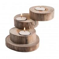Teak Wood 3 Tea Light Holder