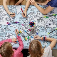 The Doodle World Map Table Cloth