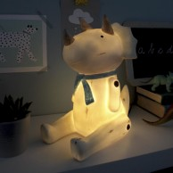 Wood Effect Sitting Triceratops Lamp