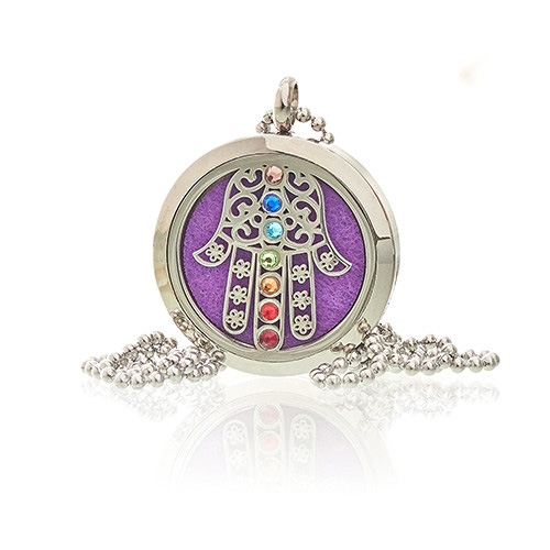 Click to view product details and reviews for Diffuser Necklace Hamsa Chakra 30mm 18.
