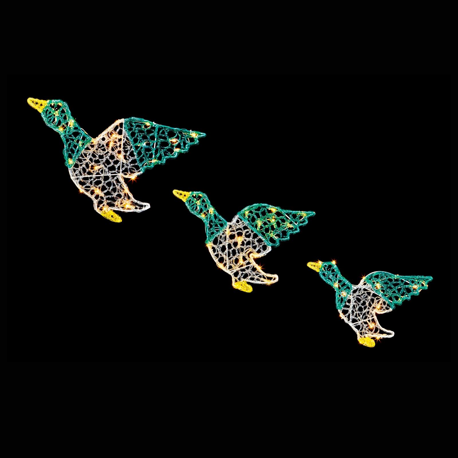 Set Of 3 Colour Acrylic Ducks
