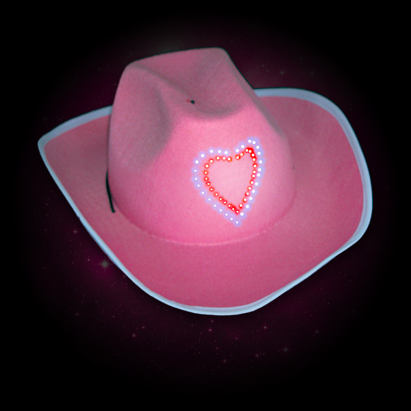 Click to view product details and reviews for Flashing Pink Cowboy Hats Wholesale.