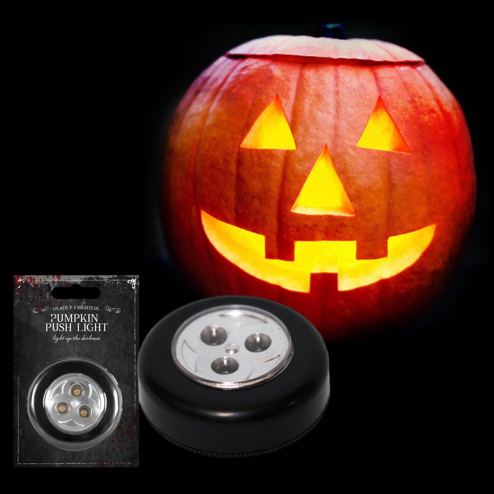 Click to view product details and reviews for Led Pumpkin Push Light.