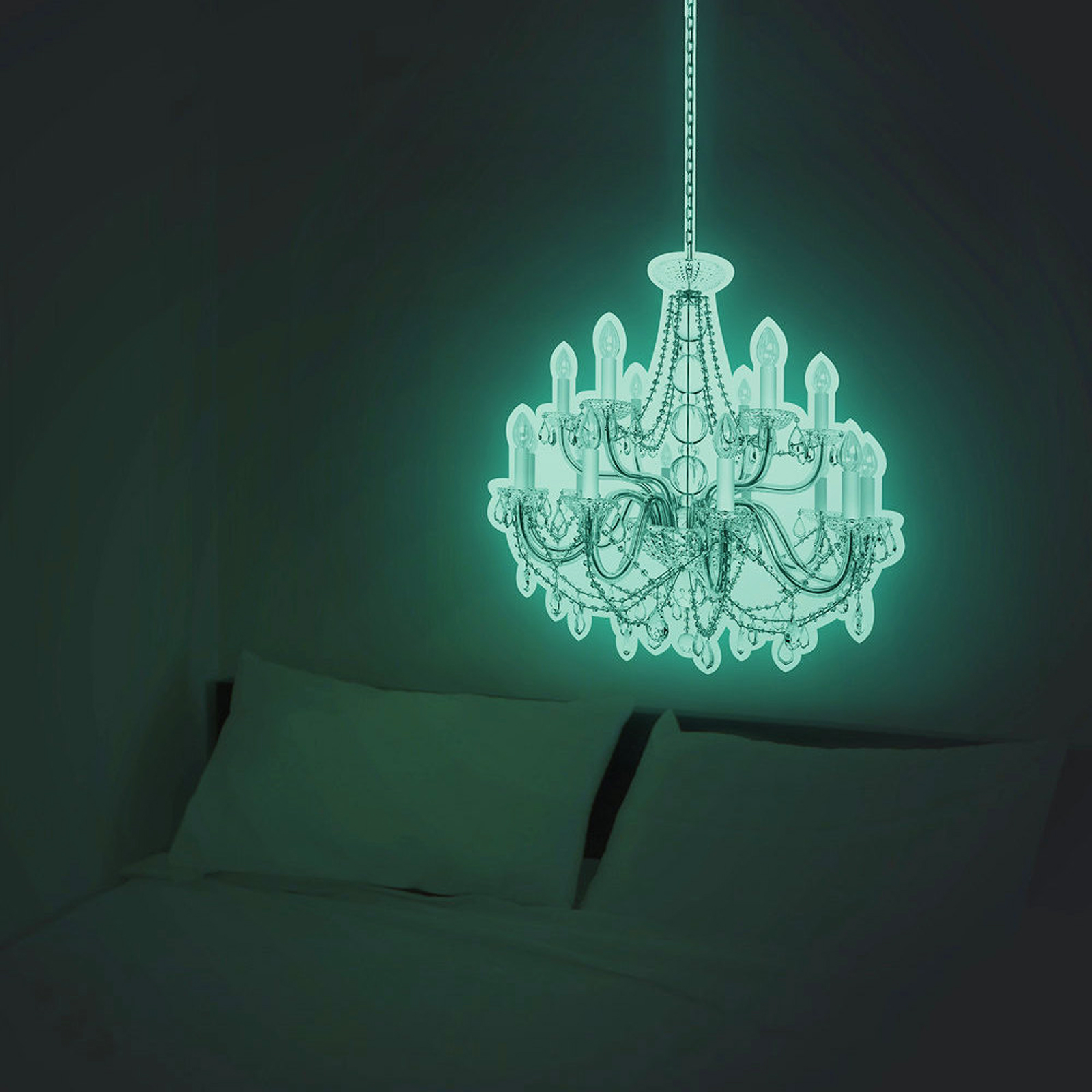 Click to view product details and reviews for Giant 50cm Glow Chandelier Sticker.