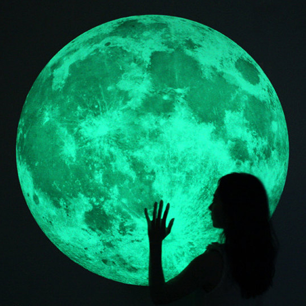 Large Xl Glow Moon Light Wall Stickers