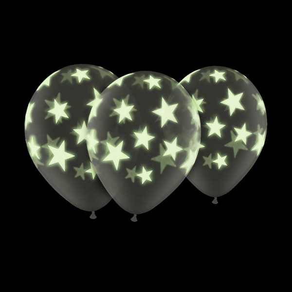 Glow In The Dark 11 Star Balloons 5 Pack