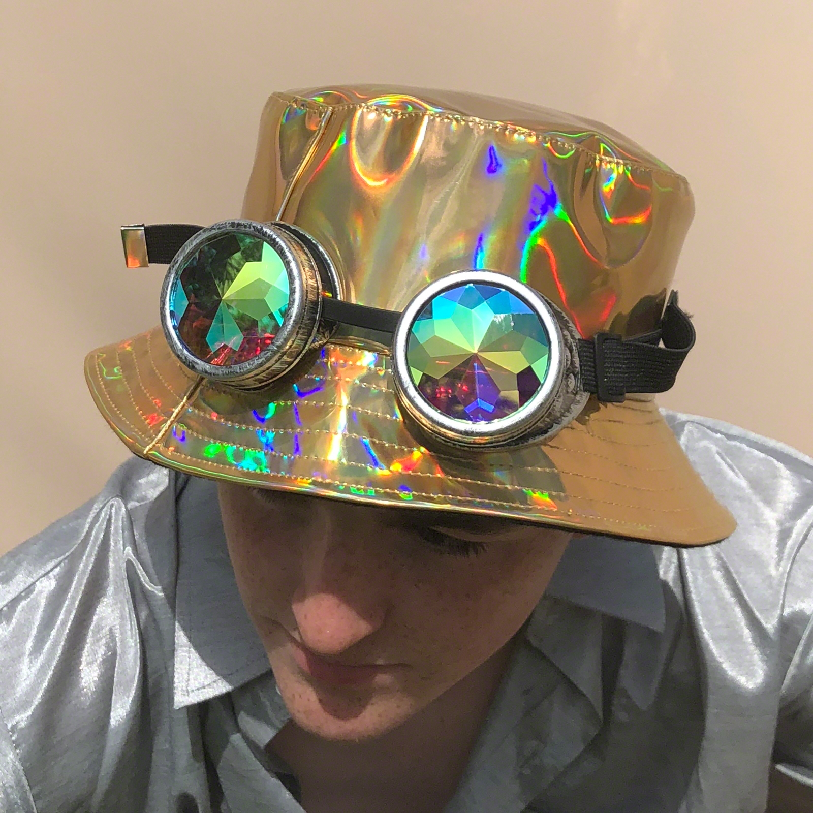 Click to view product details and reviews for Gold Holographic Hat.