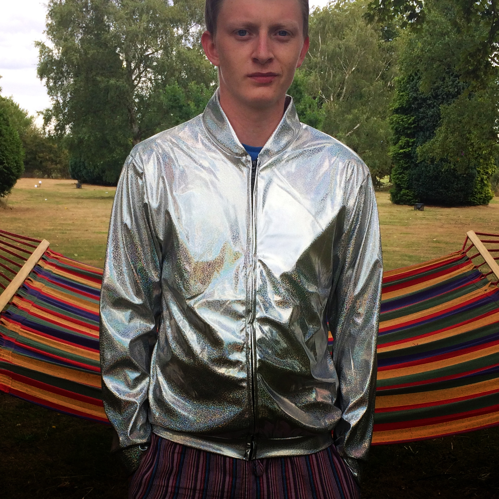 Click to view product details and reviews for Silver Holographic Jacket Xl.