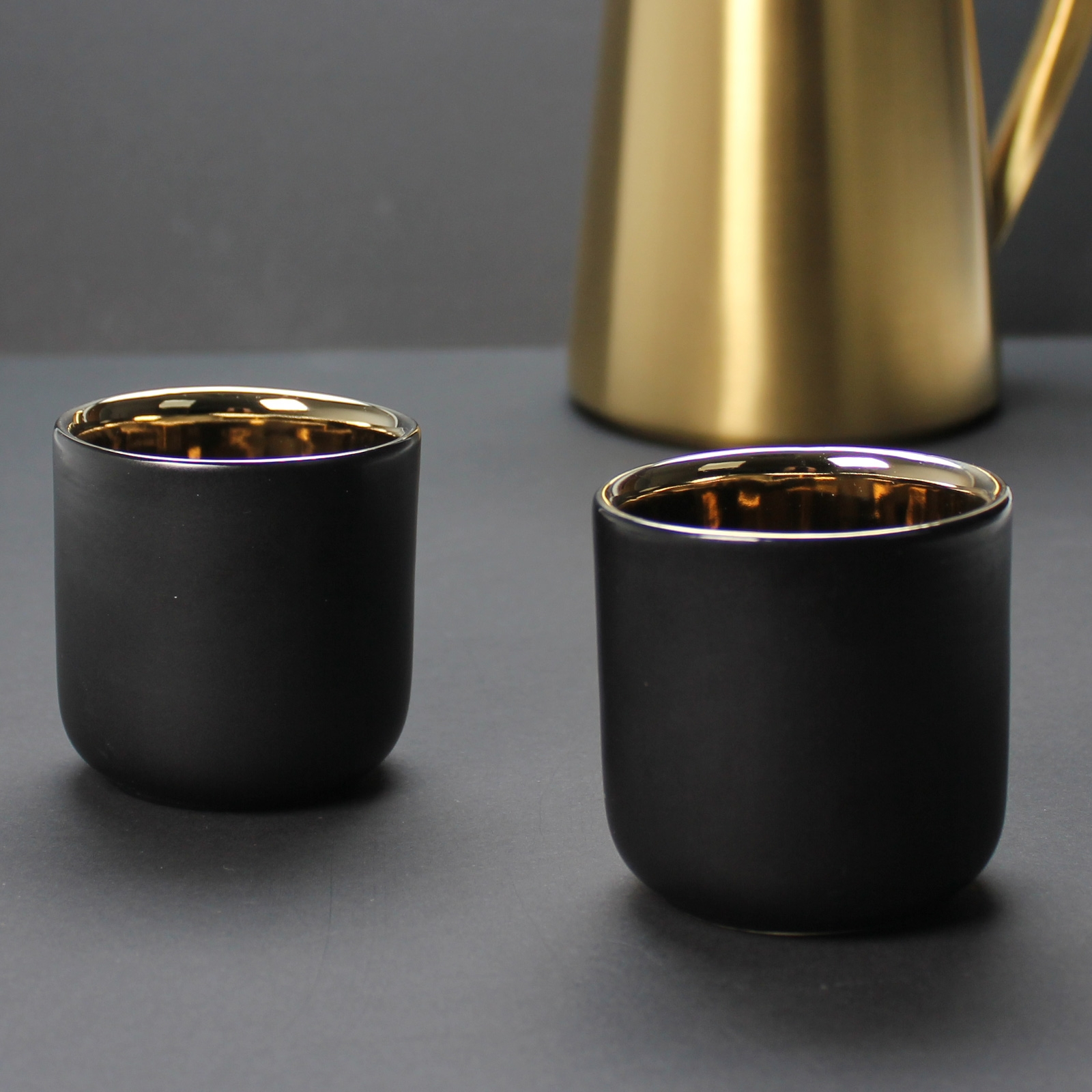 Black And Gold 110ml Coffee Cups X 2