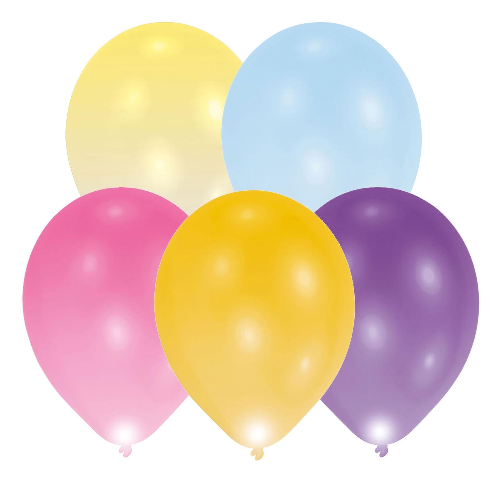Multi Coloured Led Balloons 5 Pack