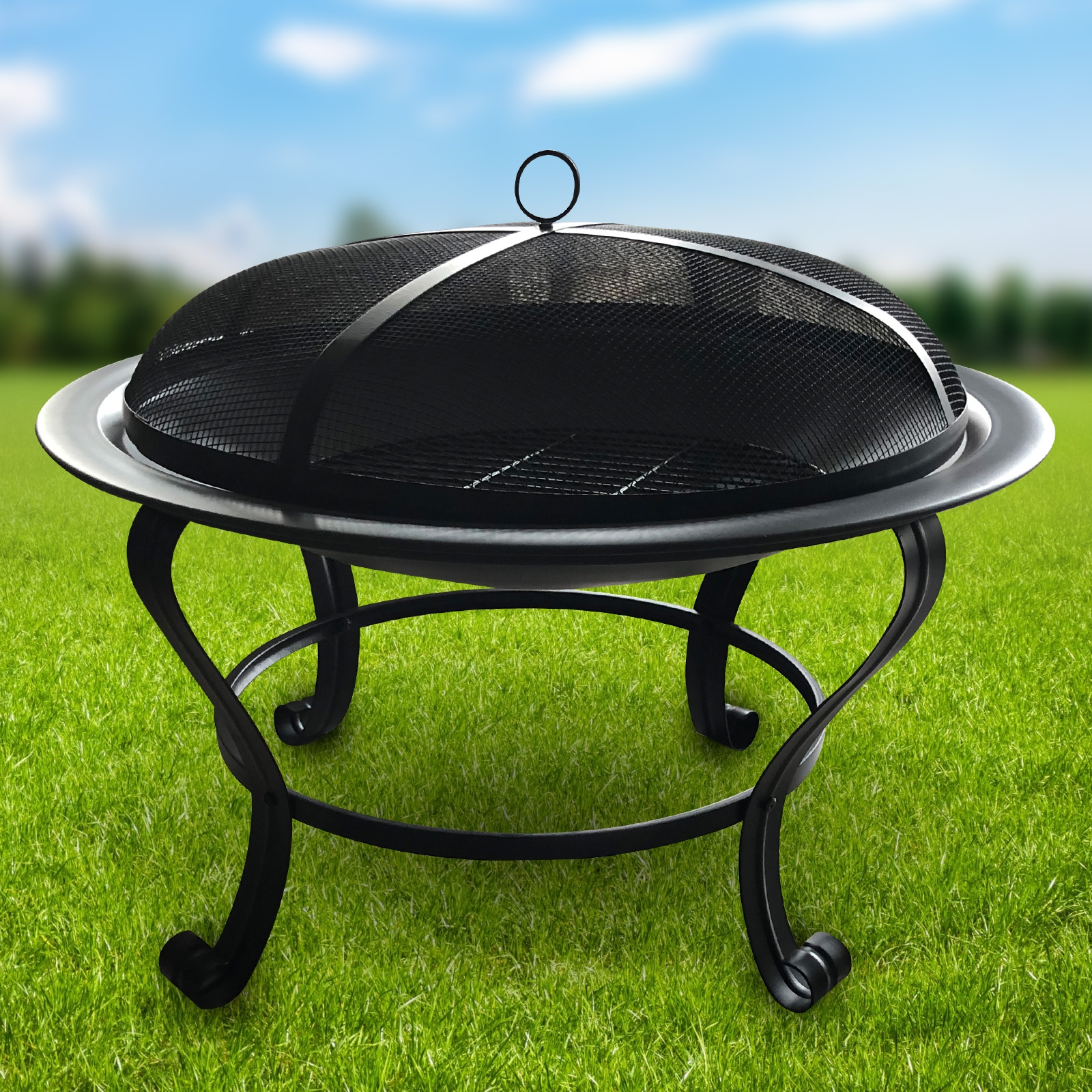 Meridian Fire Pit And Bbq Grill With Rain Cover By Fire And Dine