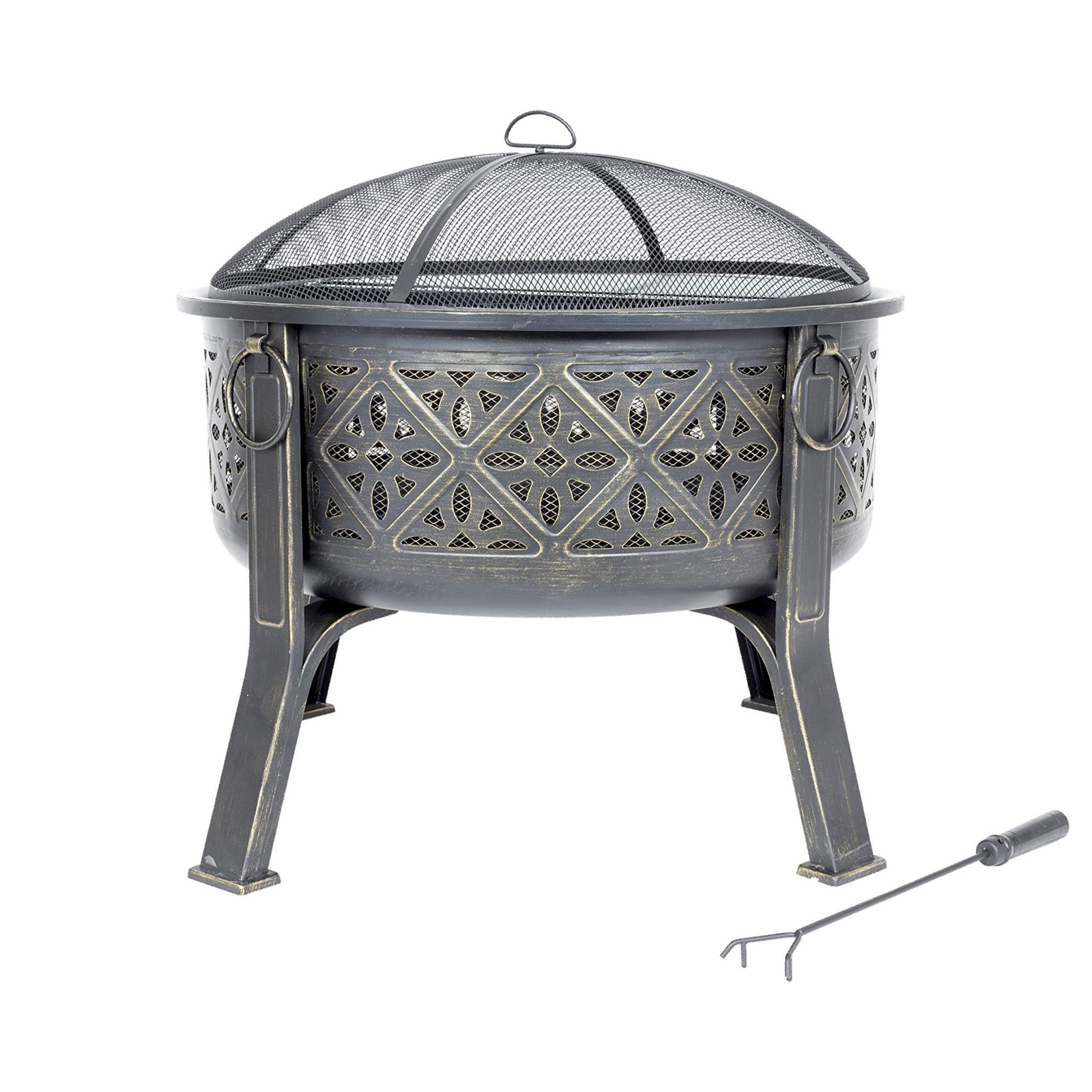 Click to view product details and reviews for Moresque Deep Steel Fire Pit With Grill.
