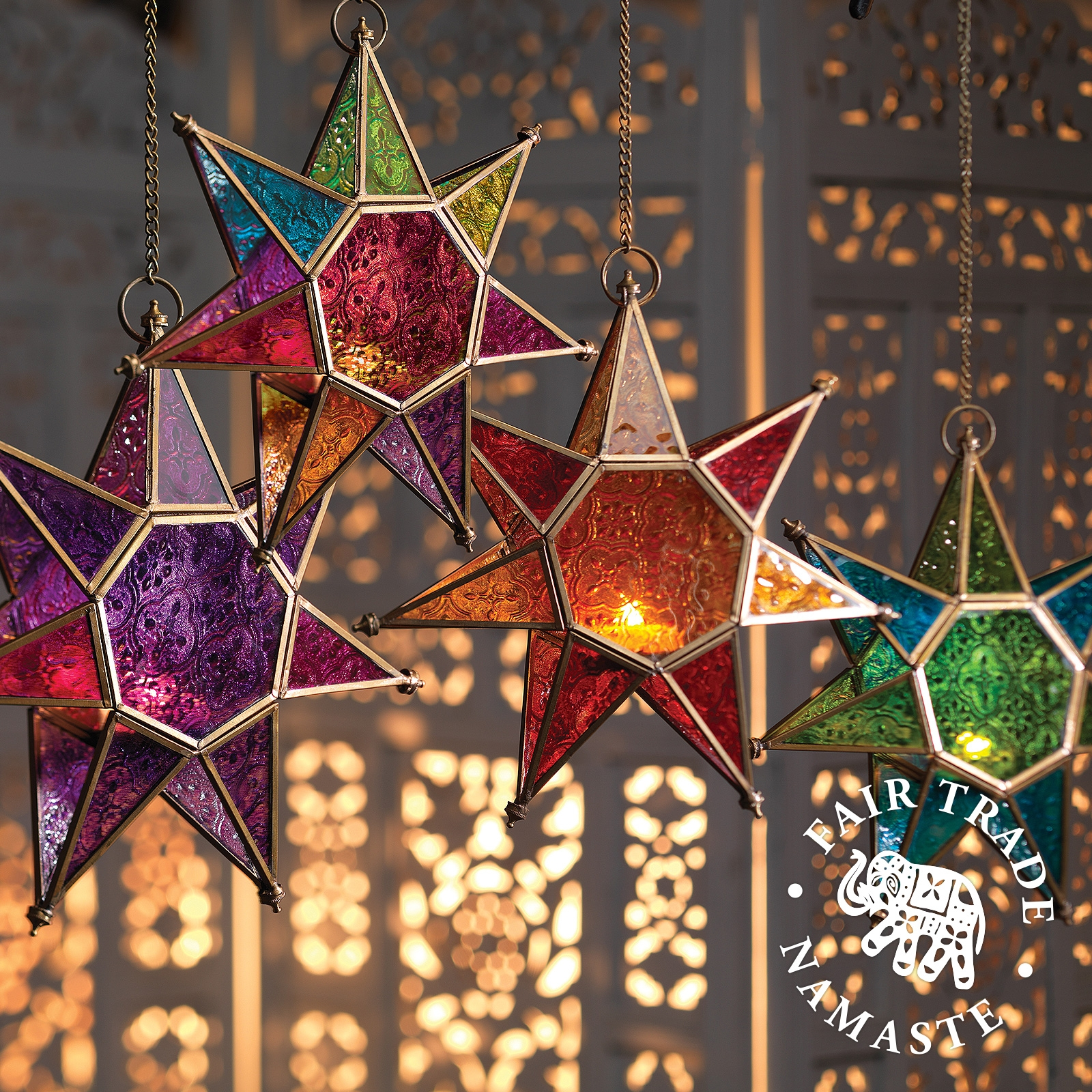 Click to view product details and reviews for Moroccan Style Star Glass Lantern.