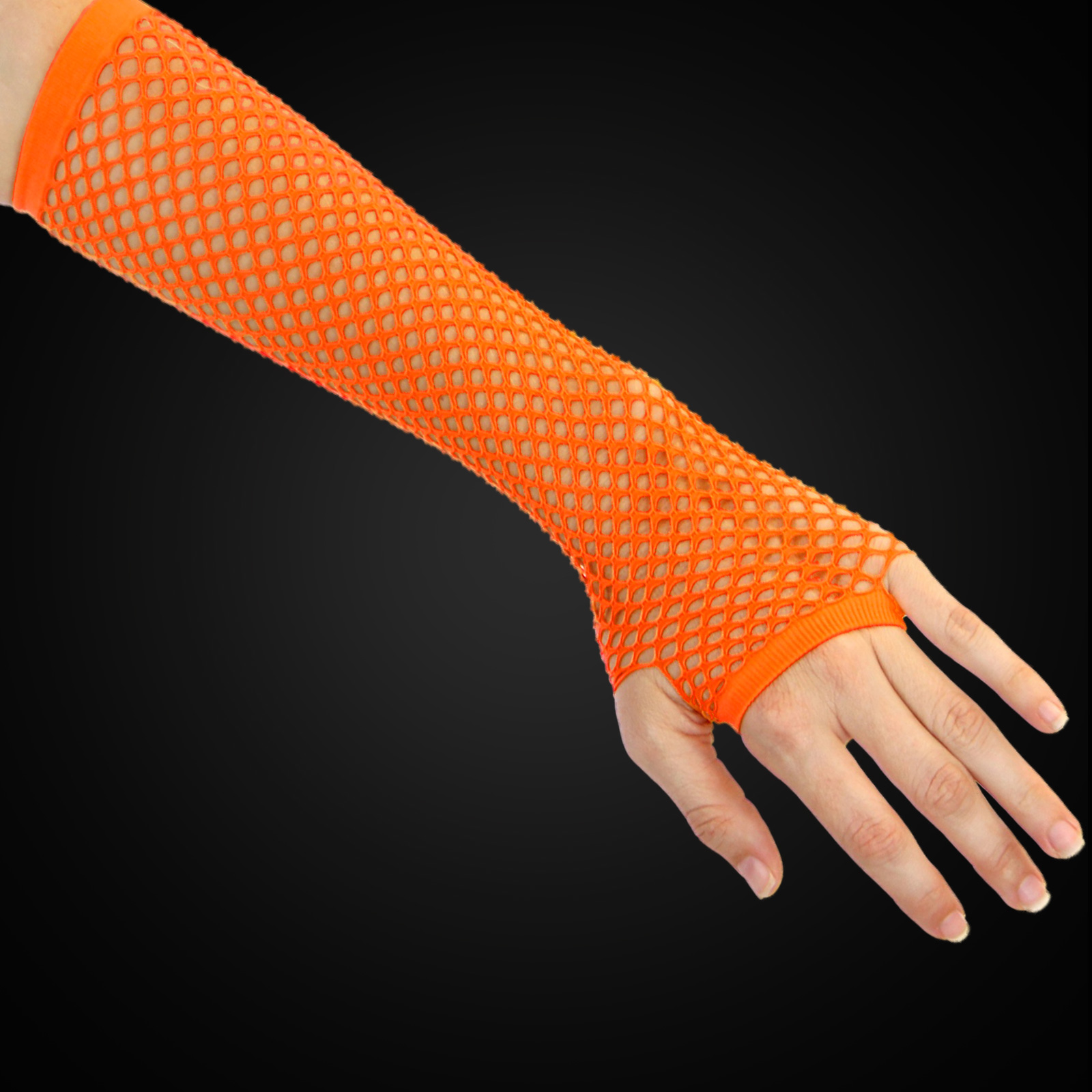 Click to view product details and reviews for Neon Orange Fishnet Gloves.
